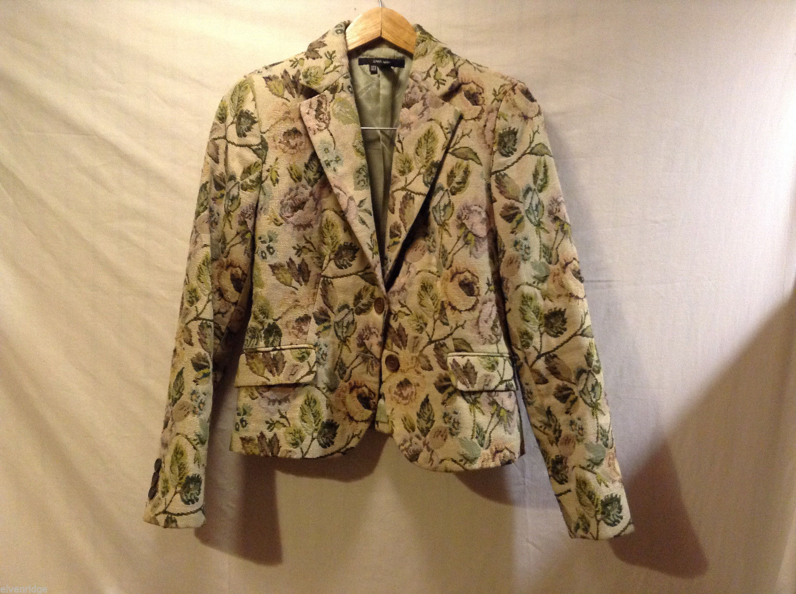 ZARA Basic Beige Light Green Floral Pattern Blazer Jacket Top, Size 10, lined
