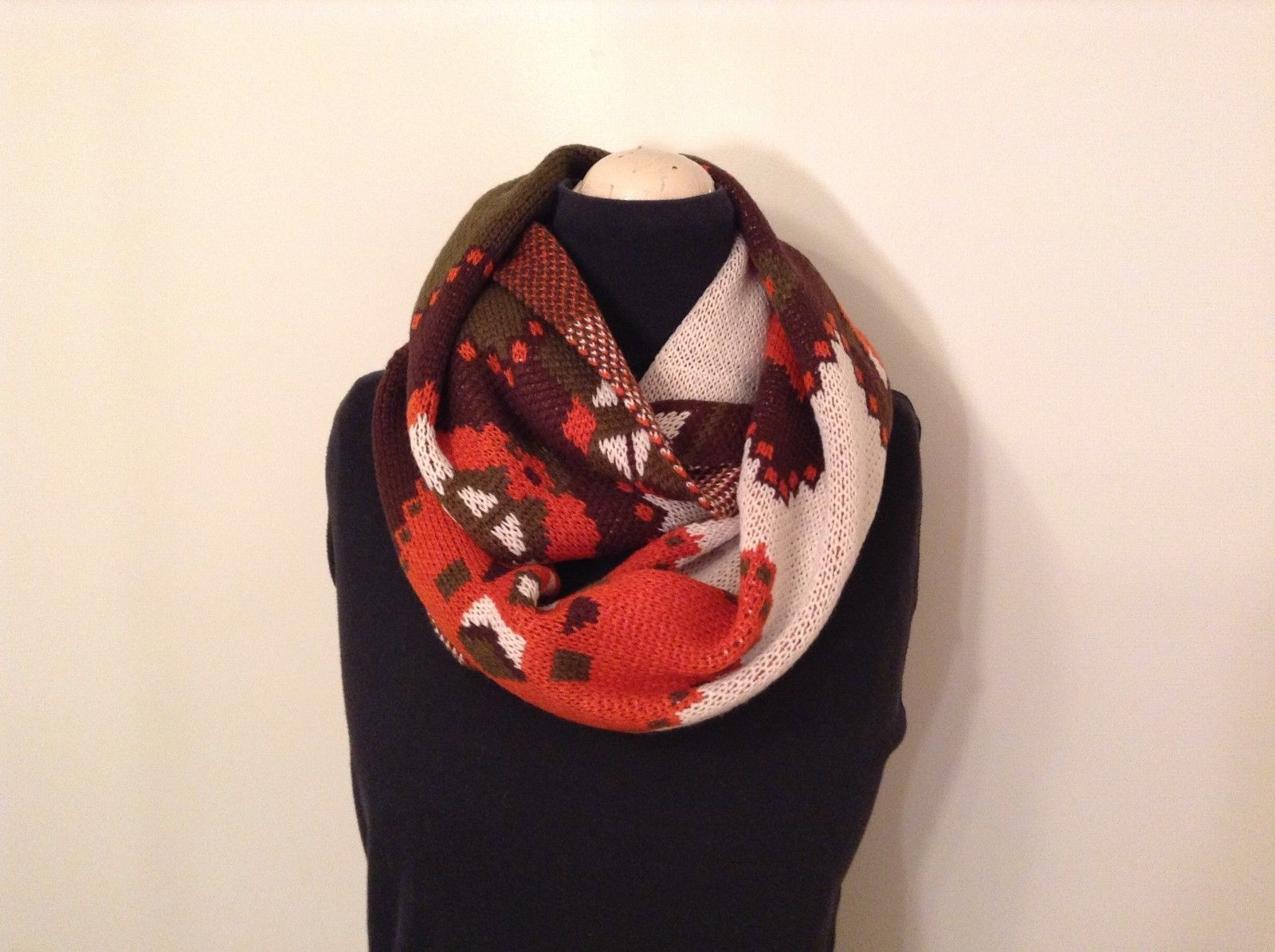 Zig zag Aztec southwest pattern warm circle infinity scarf choice of colors