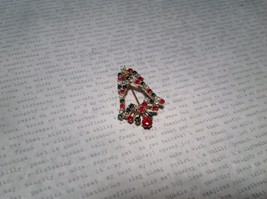 Bell Inlaid with Swarovski Elements Crystals Green Red White Pin Gold Tone image 2
