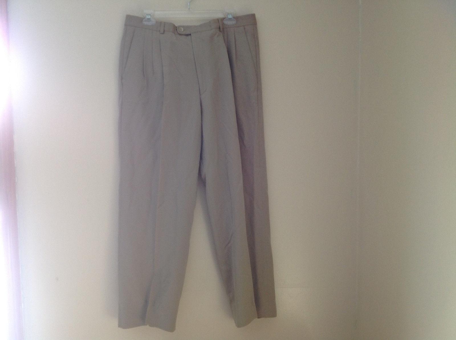 Zanella Khaki Pleated Dress Slacks 3 Pockets See Measurements Below