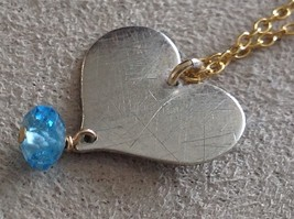 Zina Kao handcrafted flat heart blue gem charm necklace silver charm gold chain