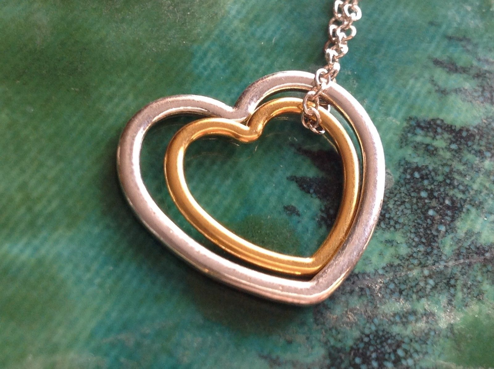 Zina Kao sterling Silver and 23KT gold plate nested hearts in petite necklace