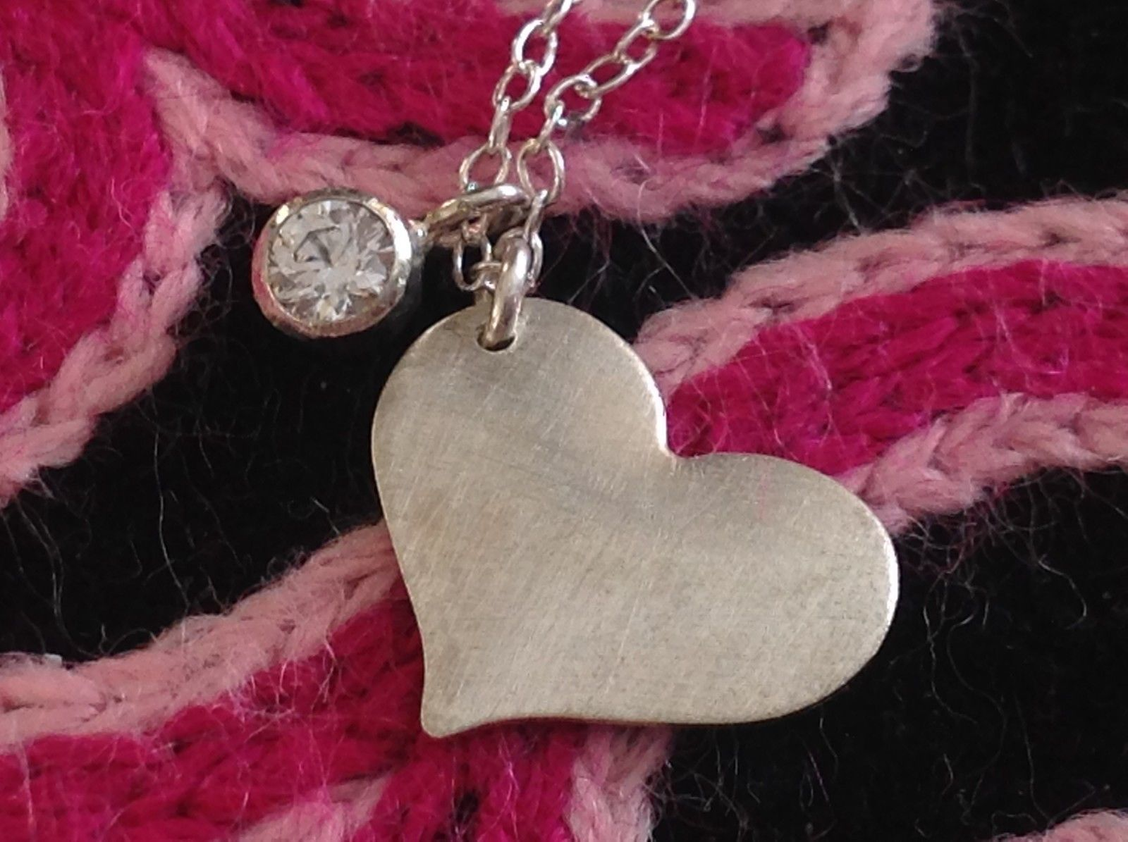 Zina Kao handcrafted flat heart and gem necklace all silver CZ birth month April