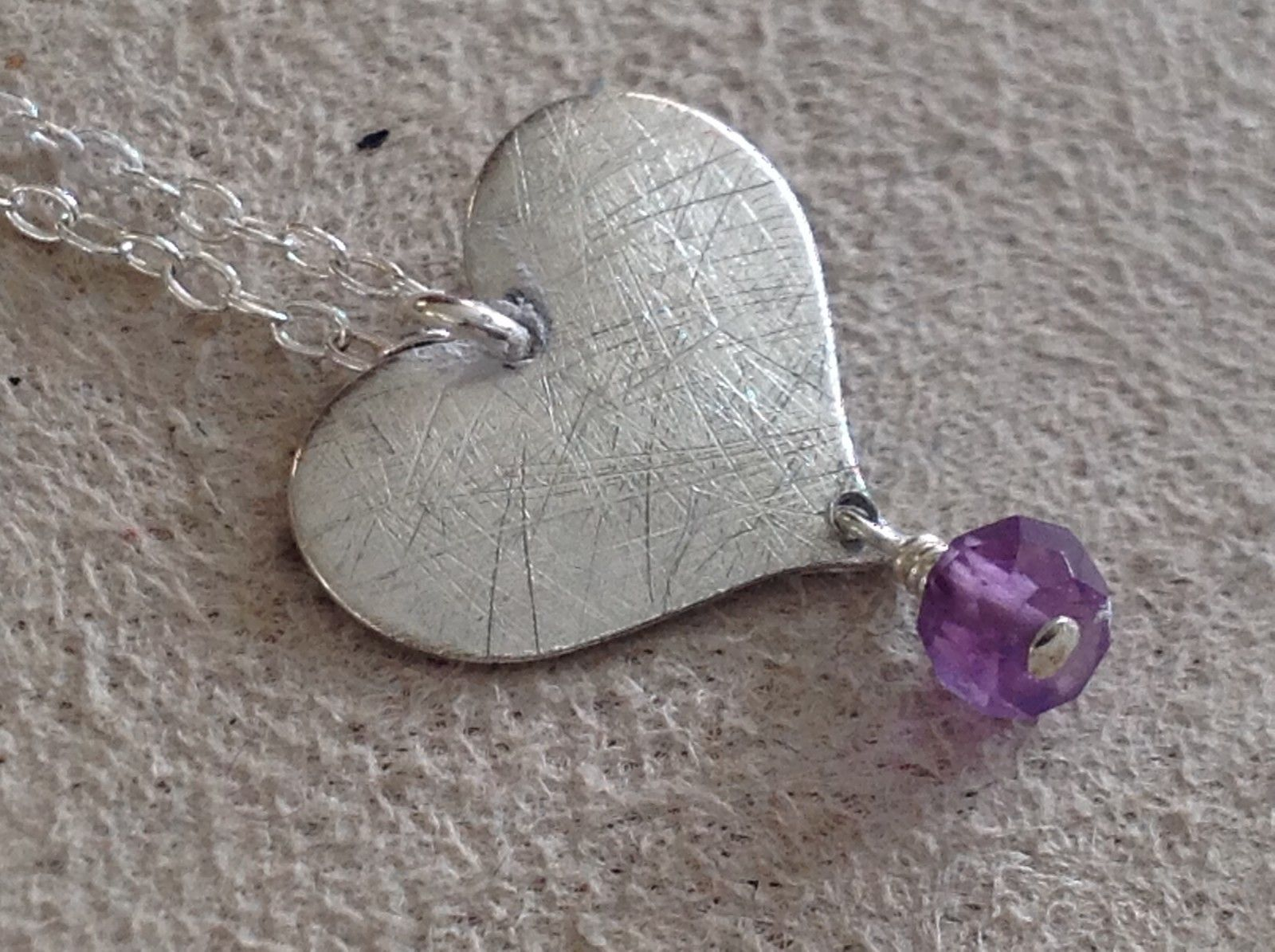Zina Kao handcrafted silver heart w purple dangle necklace pearl accent USA