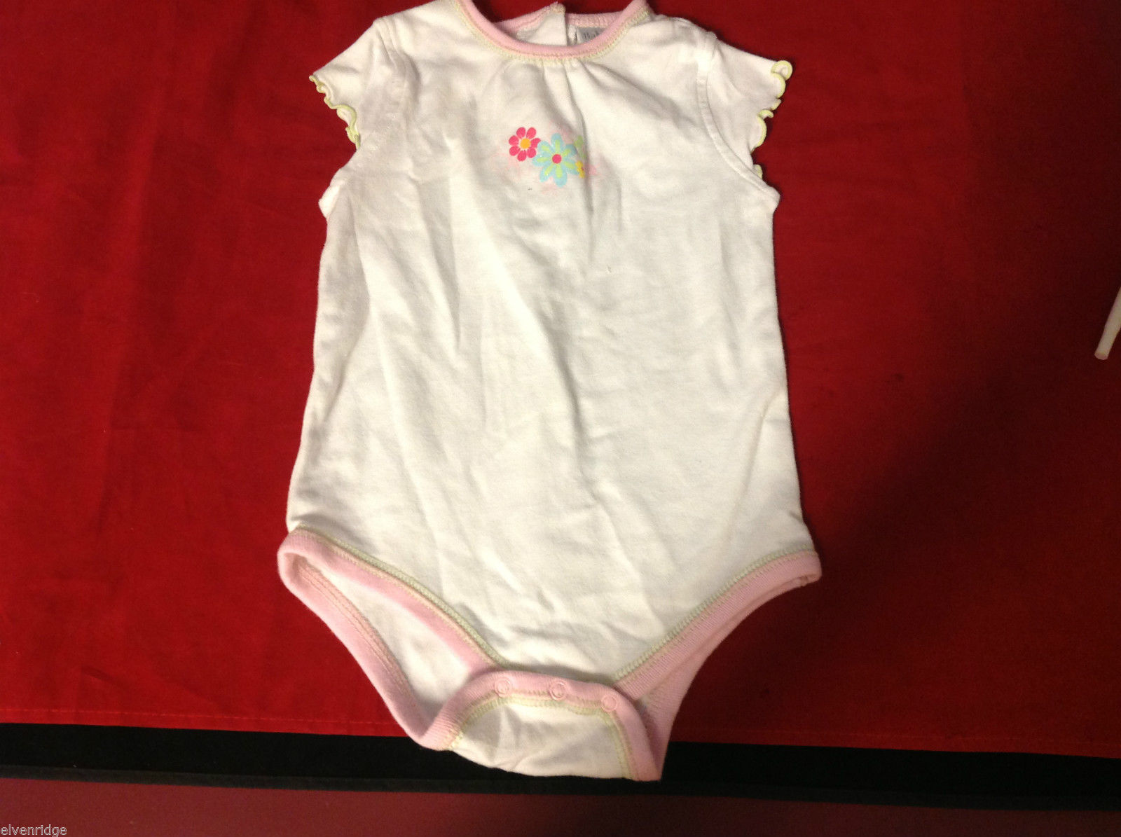 baby works 6-9 months baby romper white pink flowers