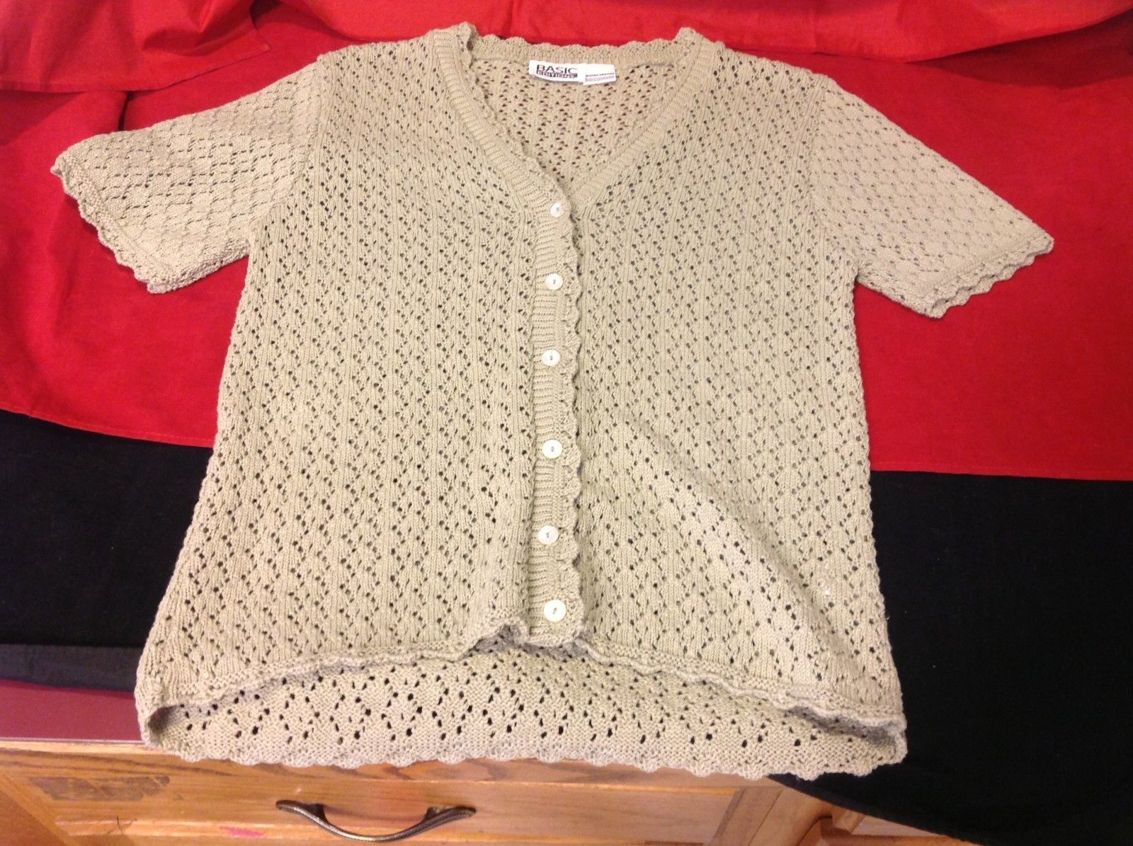 basic editions sweater women's size medium color tan