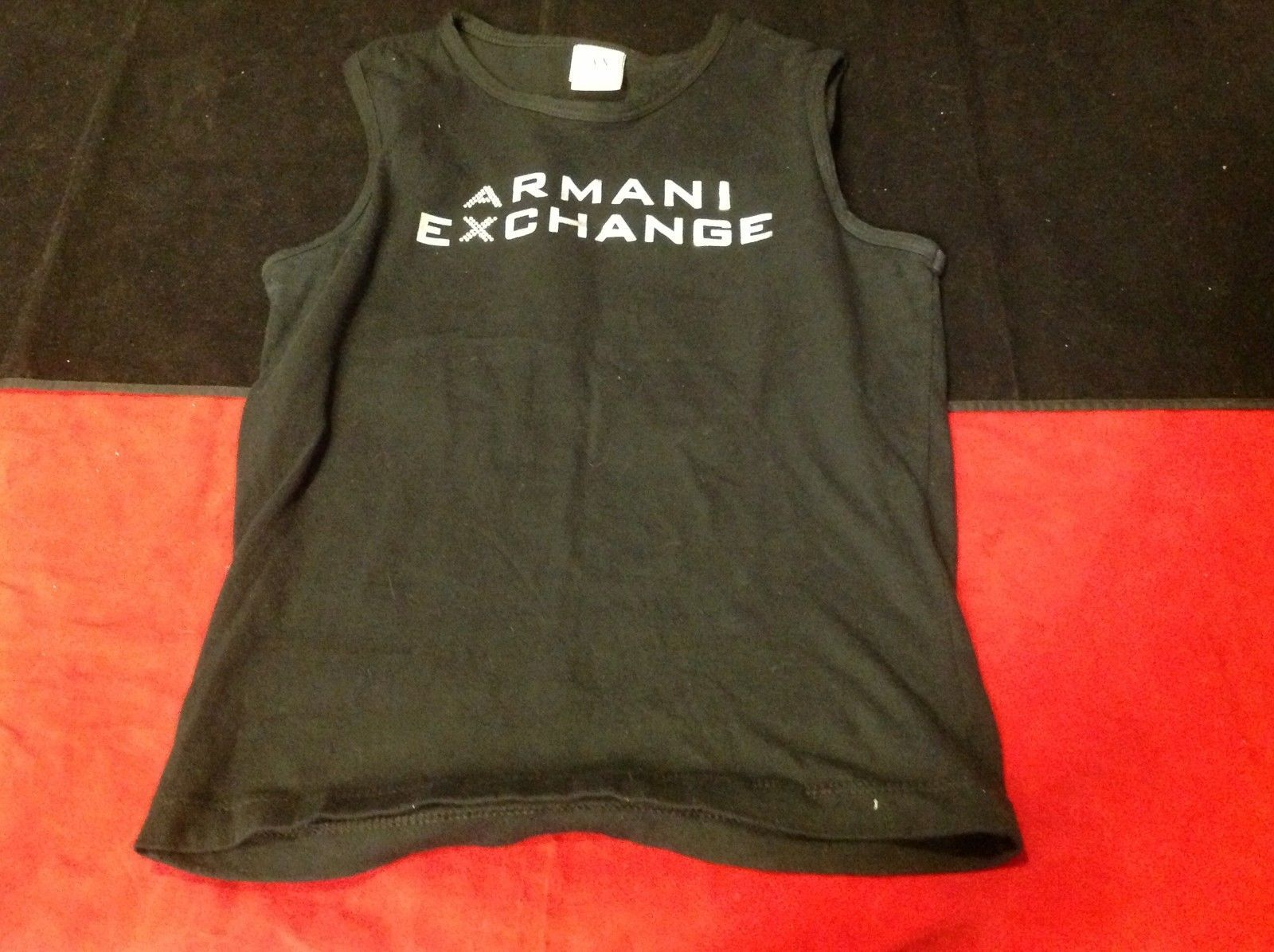 armani exchange no sleeve black silver  shirt size xs