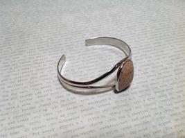 Beige Oblong Stone Silver Tone Geo Jewelry Bracelet possibly jasper image 2