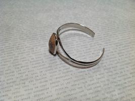 Beige Oblong Stone Silver Tone Geo Jewelry Bracelet possibly jasper image 3