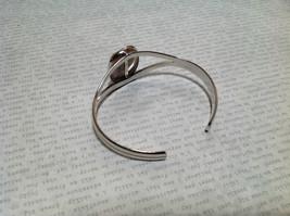 Beige Oblong Stone Silver Tone Geo Jewelry Bracelet possibly jasper image 4