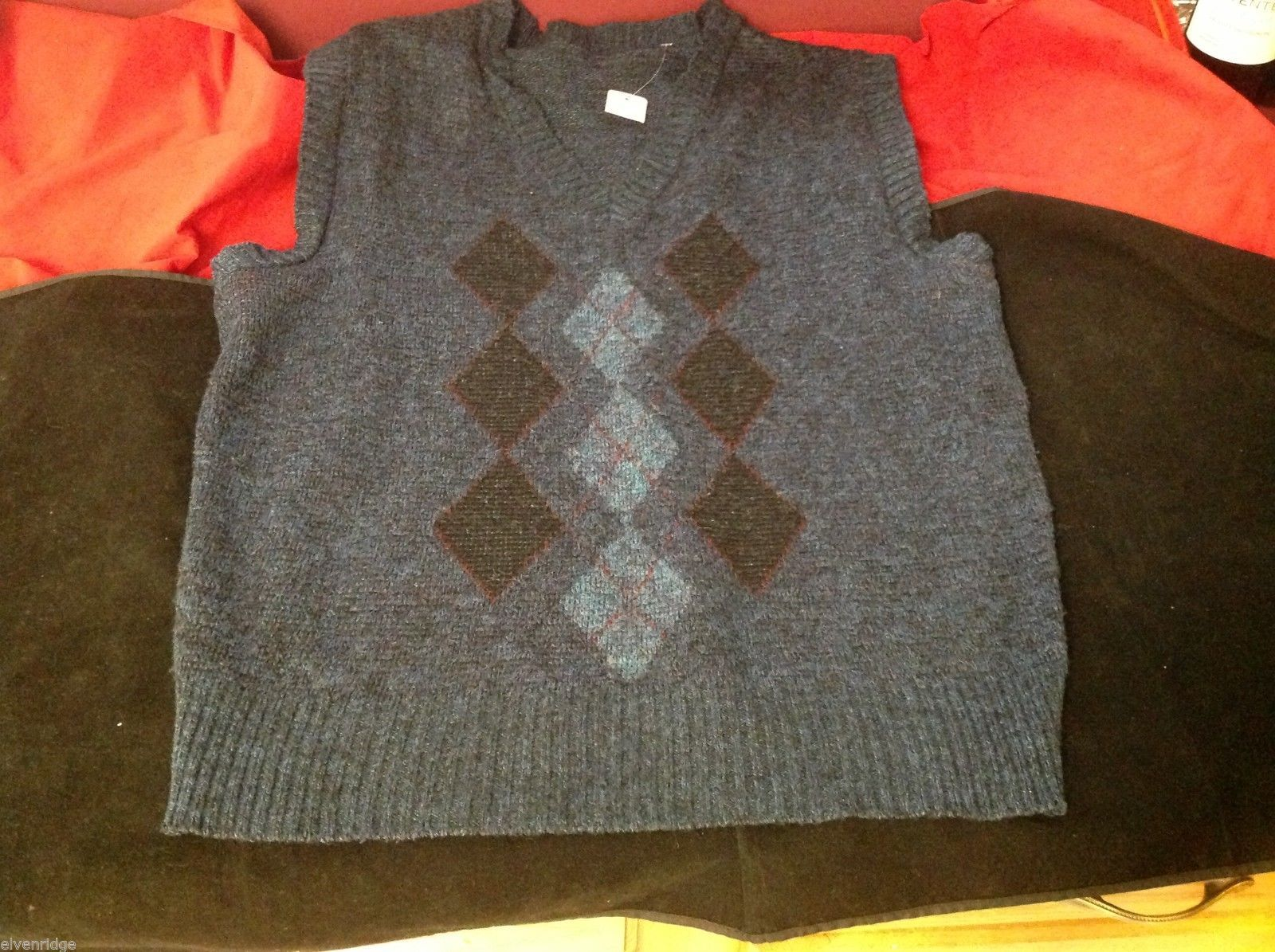 blue gray vest with patterns large argyle hipster