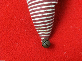 """Tan Christmas Mouse in """"Believe"""" Red/White Striped Fabric Hat Ornament image 5"""
