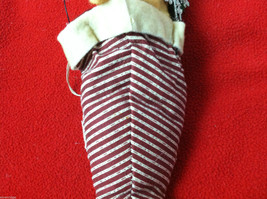 """Tan Christmas Mouse in """"Believe"""" Red/White Striped Fabric Hat Ornament image 6"""