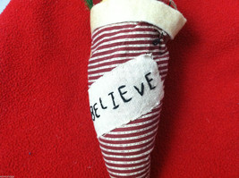 """Tan Christmas Mouse in """"Believe"""" Red/White Striped Fabric Hat Ornament image 4"""