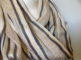 Tan Striped Rainbow Metallic Stripes Tasseled Fashion Scarf No Tag image 6