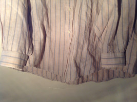 Tan with Blue Stripes Button Up Long Sleeve Dress Shirt Eddie Bauer Size Large image 6