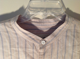 Tan with Blue Stripes Button Up Long Sleeve Dress Shirt Eddie Bauer Size Large image 3