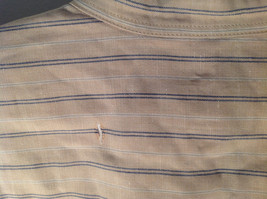 Tan with Blue Stripes Button Up Long Sleeve Dress Shirt Eddie Bauer Size Large image 8