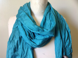 Teal Scrunched Style Silk Mix Scarf by Look Tag Attached Soft Material image 2