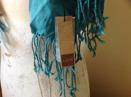 Teal Scrunched Style Silk Mix Scarf by Look Tag Attached Soft Material image 5