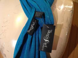 Teal Slight Metallic Shine Fashion Scarf by Magic Scarf Company Angular Ends image 6