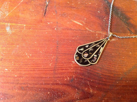 Teardrop Shaped Flat Necklace Bits of Stone Silver Tone Black Chain image 2