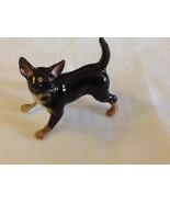 ceramic miniature dog cute standing Chihuahua black and tan ready to play - $49.49