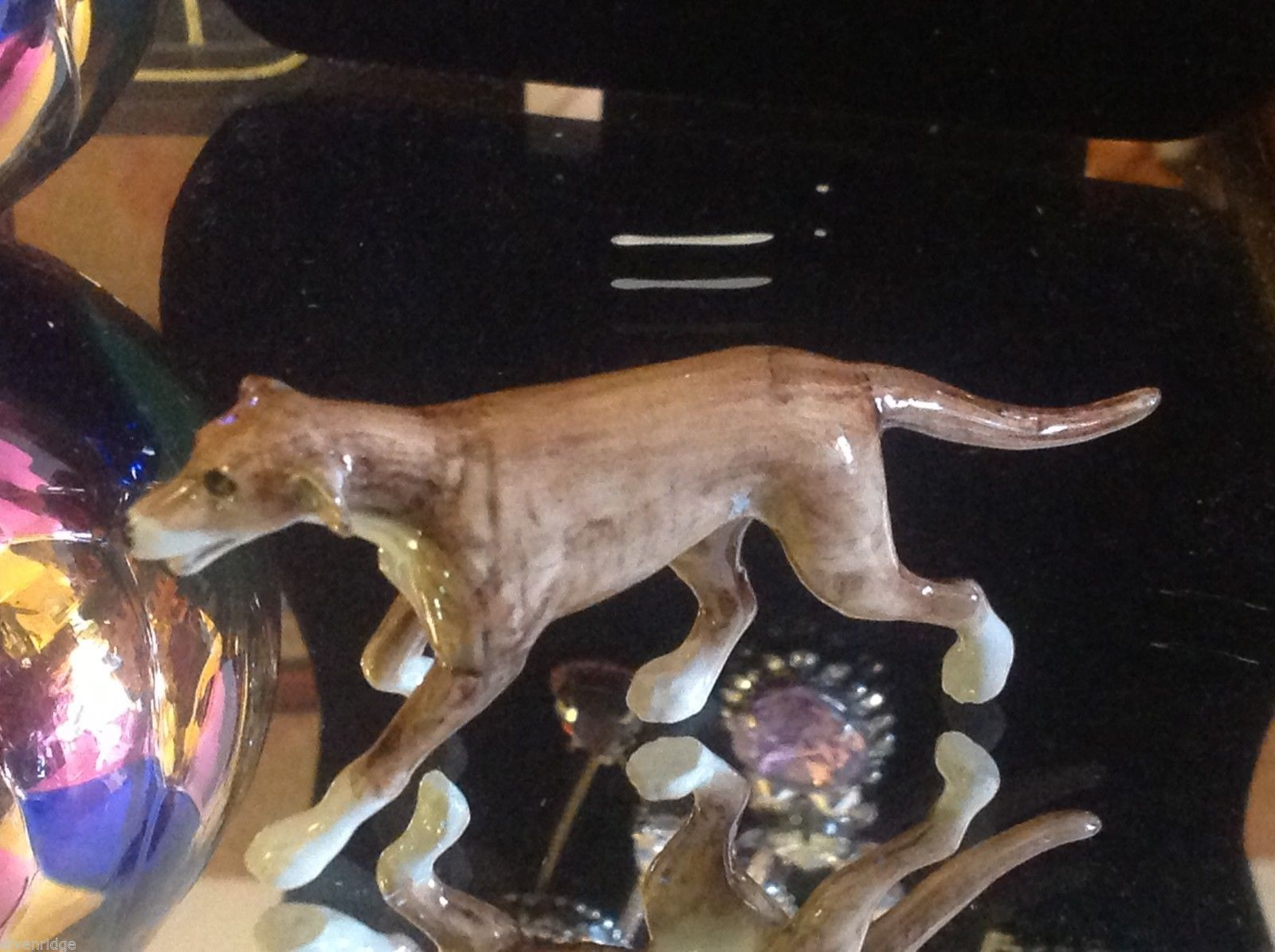 ceramic miniature dog tan greyhound trotting running