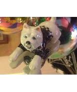 ceramic miniature dog white West Highland Terrier Westie in leopard trim... - $74.24