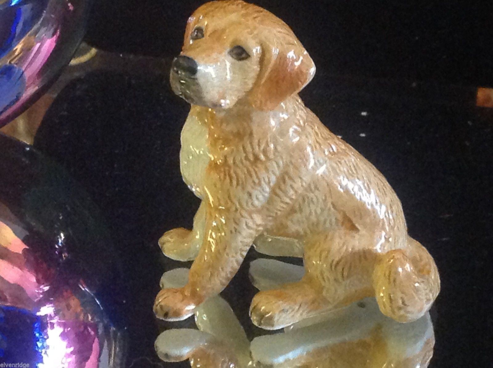 ceramic miniature dog Golden retriever sitting