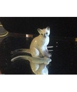 ceramic miniature gray Siamese cat sitting - $49.49