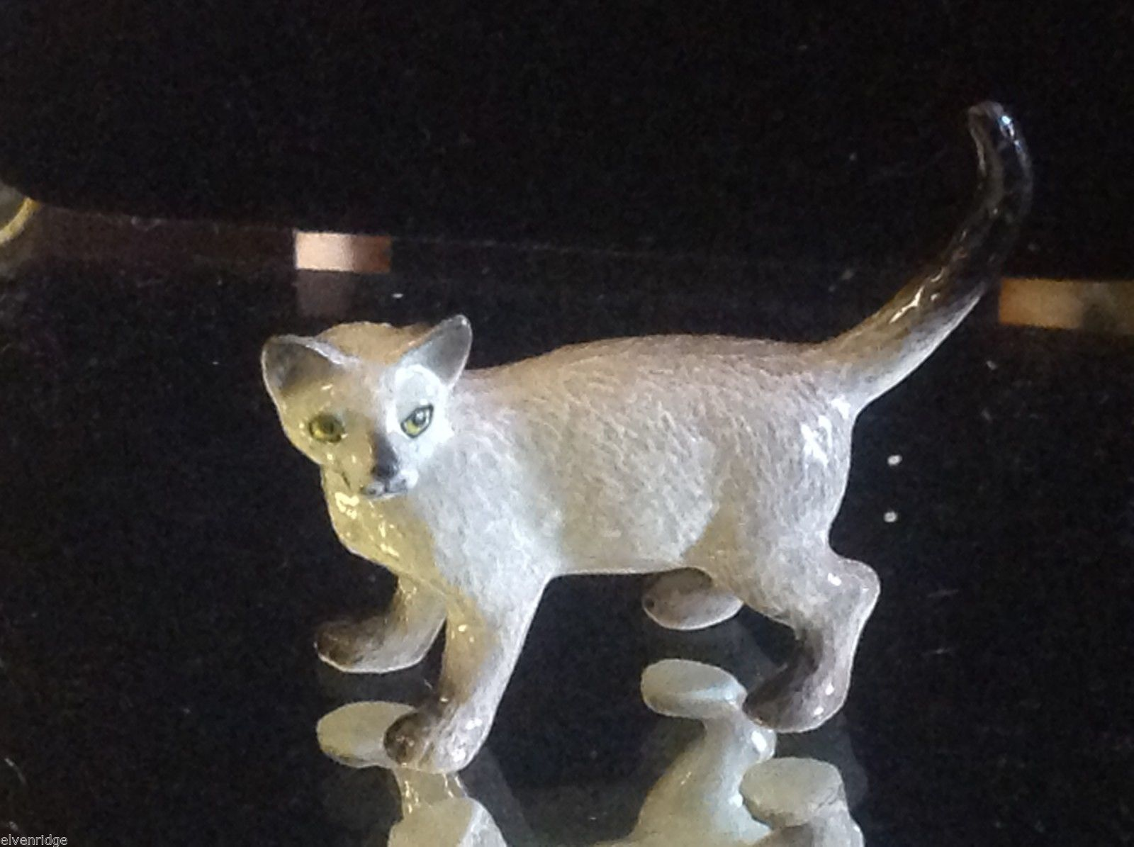 ceramic miniature gray Siamese cat standing