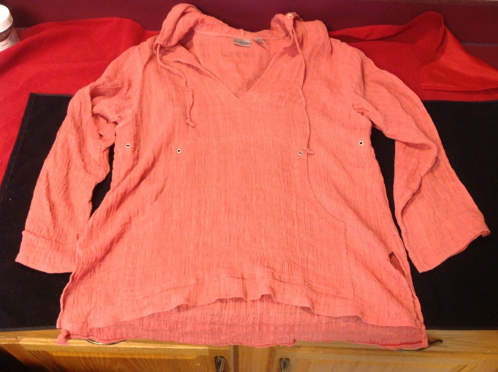chicos woven blouse peach color size 2 for woman