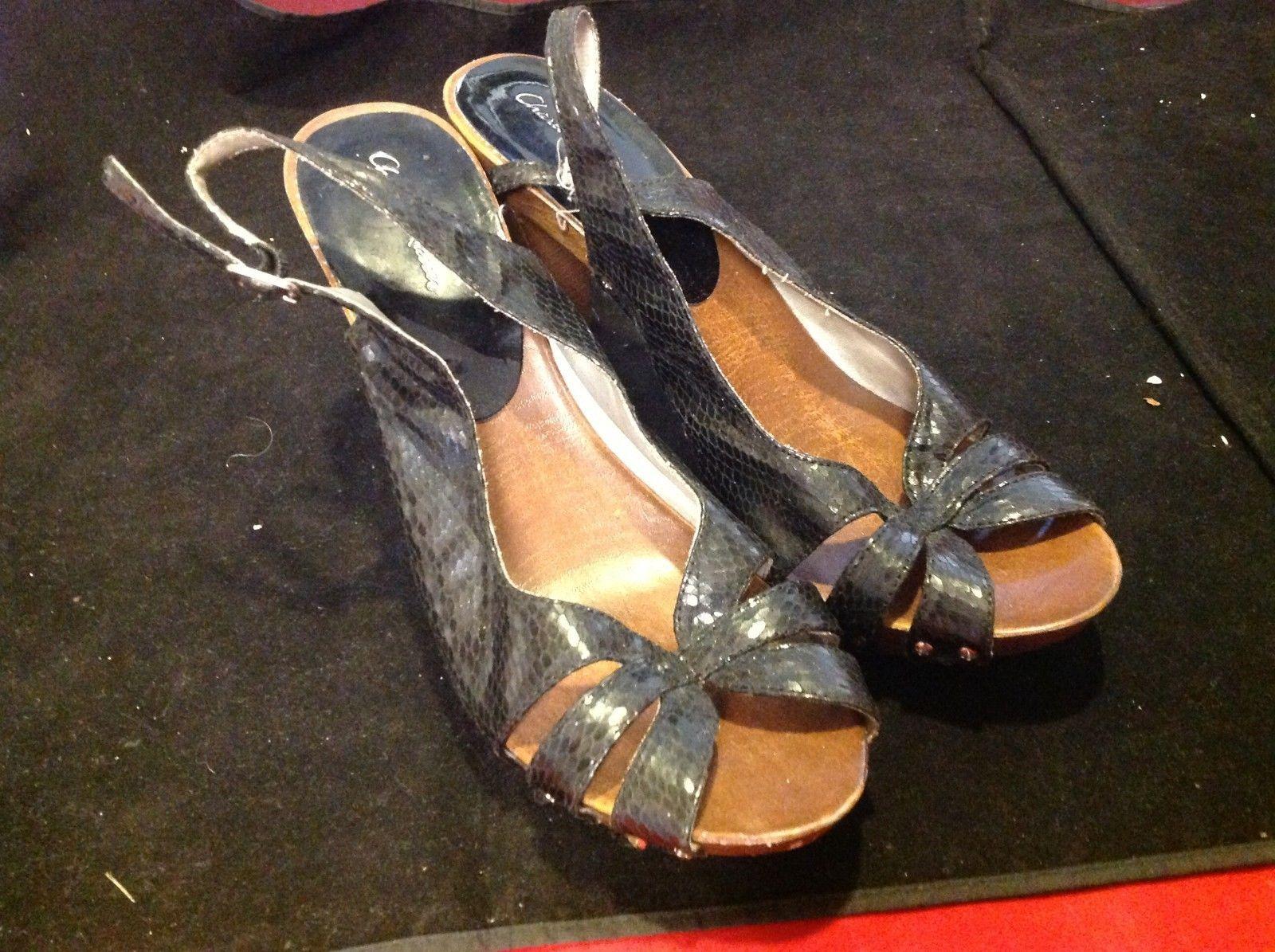 charlotte russe open toe black 4 inch heels  size 9