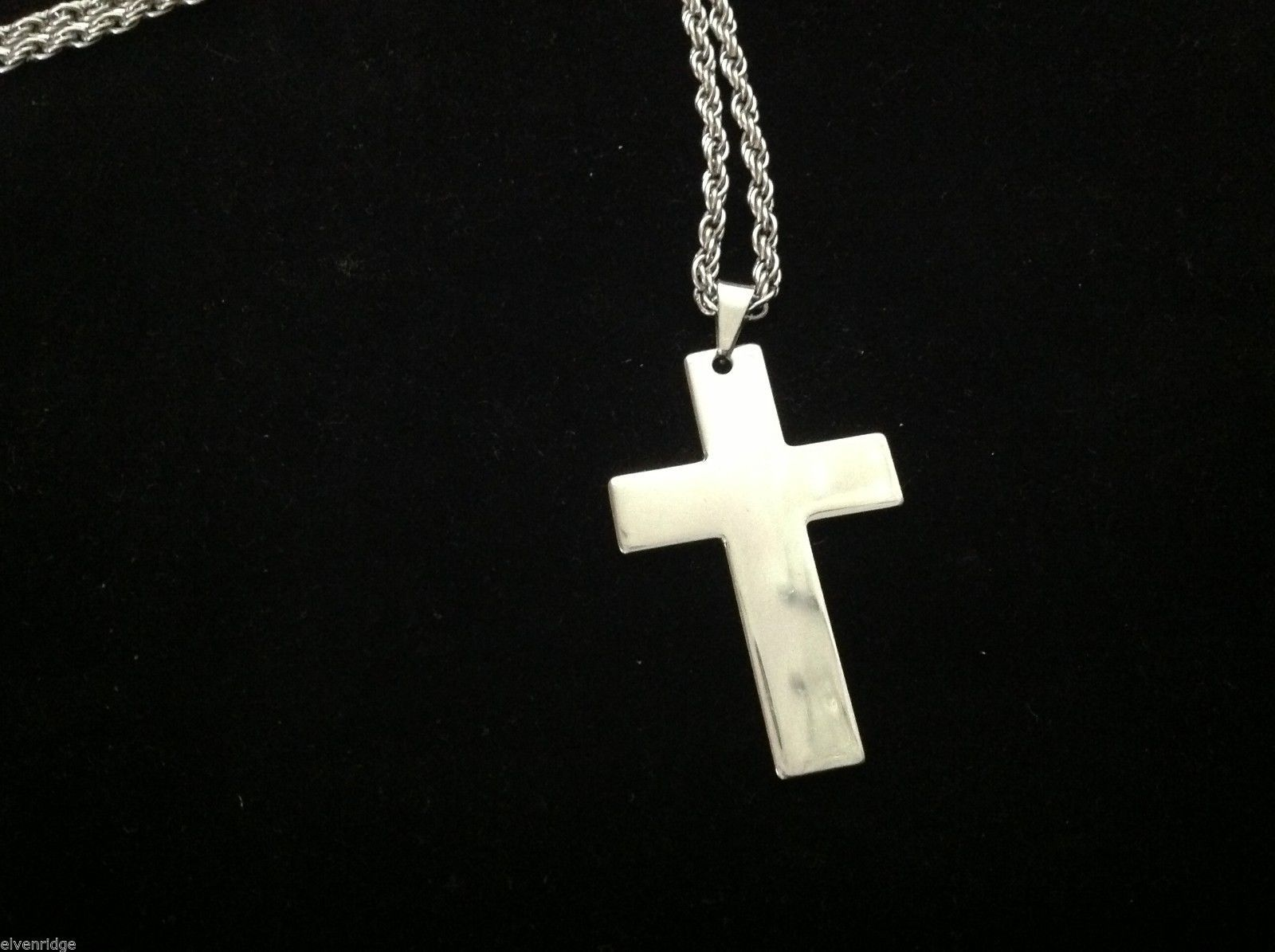 crucifix necklace simple stainless design with sturdy chain and lobster claw