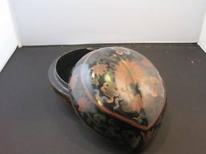 decorative black box with top lacquered asian design