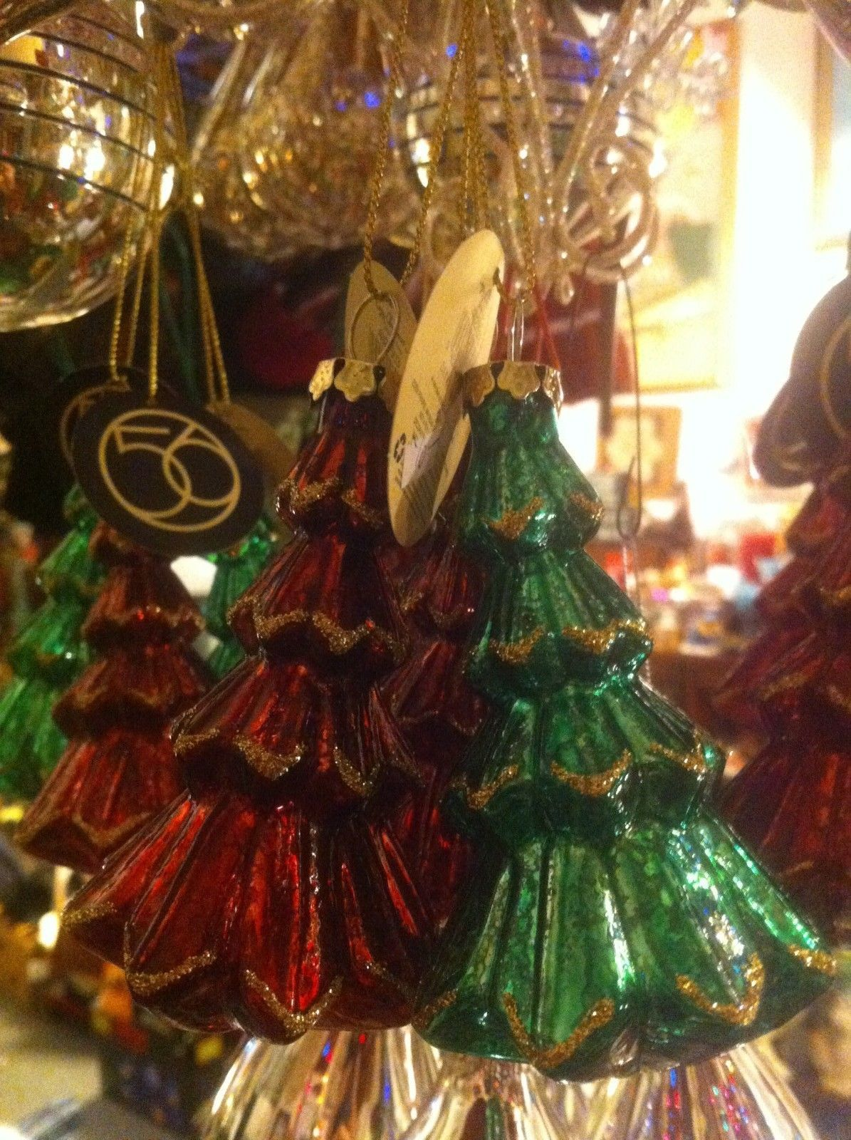 department 56 Red or green w gold glitter blown glass pine tree four inch tall