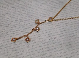 "fantasy stones gold necklace 11"" gold plated CZs"