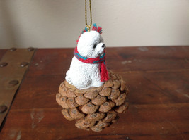 Bichon Frise Pine Cone Pet White Dog with Scarf Ornament Real Pine Cone image 2