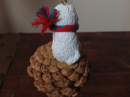 Bichon Frise Pine Cone Pet White Dog with Scarf Ornament Real Pine Cone image 3