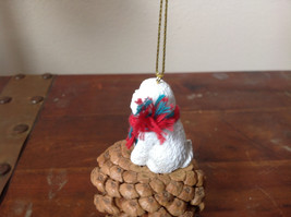 Bichon Frise Pine Cone Pet White Dog with Scarf Ornament Real Pine Cone image 4