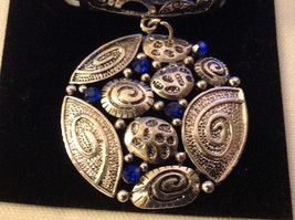 The Magic Scarf Company Silver Tone with Blue Crystals Scarf Pendant 2 Inches image 5