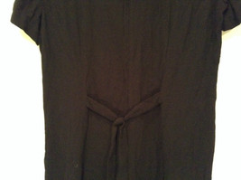 Betsys Things Size 12 Short Sleeve Black Dress Front Slit 18 Buttons on Front image 5