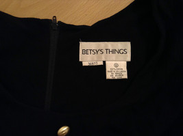 Betsys Things Size 12 Short Sleeve Black Dress Front Slit 18 Buttons on Front image 7