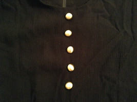 Betsys Things Size 12 Short Sleeve Black Dress Front Slit 18 Buttons on Front image 8