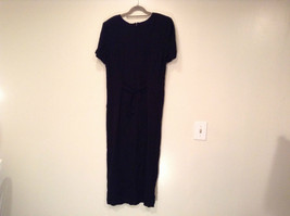 Betsys Things Size 12 Short Sleeve Black Dress Front Slit 18 Buttons on Front image 4