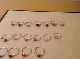 Big Lot of 45 silver wire handmade wrap rings, different sizes and stones image 2