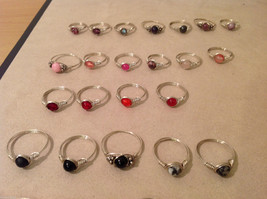 Big Lot of 45 silver wire handmade wrap rings, different sizes and stones image 3