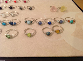 Big Lot of 45 silver wire handmade wrap rings, different sizes and stones image 6