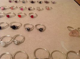 Big Lot of 45 silver wire handmade wrap rings, different sizes and stones image 8
